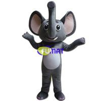 elefante mascote venda por atacado-FUMAT Adorável Elefante Traje Da Mascote Tamanho Adulto Animal Dos Desenhos Animados Da Mascote Cinza Elefante Vestuário Personagem de Desenho Animado Trajes Imagem Personalização