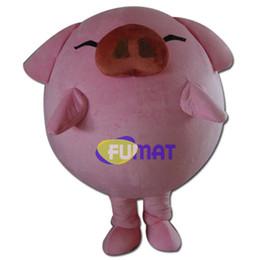 FUMAT Papa Porco Mascote Adulto Tamanho Dos Desenhos Animados Animal Mascote Rosa Porco Vestuário Personagem de Desenhos Animados Trajes Com Fan Imagens de Personalização supplier pig mascot costumes de Fornecedores de trajes de mascote de porco