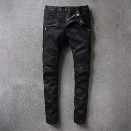 Wholesale Men Motorcycle Brand - Luxury Brand Designer Mens Black Motorcycle Biker Robins Jeans Elastic Ripped Denim Jeans Men Vintage Washed Distressed Robin Jeans For Men