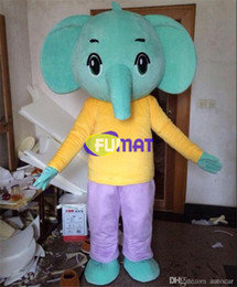 Wholesale Custom Made Cartoon Shirts - FUMAT Lovely Elephant Costume Cartoon Mascot Yellow Shirt Elephant Mascot Adult Size Halloween Christmas Party Dress Pictures Customization
