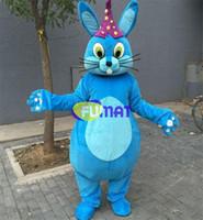 mavi tavşan maskotu toptan satış-FUMAT Mavi Gagtooth Tavşan Maskot Kostümleri Tavşan Kostümleri Yetişkin Tavşan Karikatür Kostümleri Fantezi Elbise Noel Karnaval Parti Özelleştirme