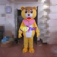 sarı elbise karikatür toptan satış-Fumat mini aslan maskot kostüm eva yetişkin boyutu sarı aslan karikatür clothing hayvan sevimli aslan noel maskot dress resim özelleştirme