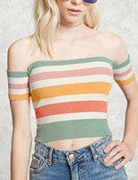 Wholesale Knit Tops Multicolor - Trendydressed 2017 Summer Women's Casual Multicolor Ribbed knit CropTop Sexy Off-the-shoulder short sleeves Slash neck T-Shirt Tops