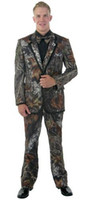 Wholesale S5 54 - New Camouflage Tuxedos Unique Single-Breasted Camo Mens Wedding Suits Notched Lapel Groom Wear Prom Suits For Men(Jacket+Pant+Vest+Bowtie)s5
