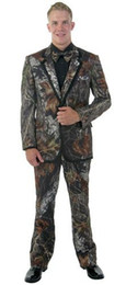 Wholesale unique men wedding suits resale online - New Camouflage Tuxedos Unique Single Breasted Camo Mens Wedding Suits Notched Lapel Groom Wear Prom Suits For Men Jacket Pant Vest Bowtie s5