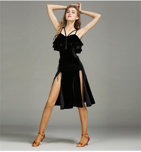 Ballsaal Versand Sexy Schwarz Erwachsene Rot Kostenloser Tanzkleid Kleid Latin Salsa Tango Lotus Dance Chacha Strap Großhandel Wettbewerb Mädchen lK1F5J3uTc