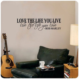 "Wholesale Vinyl Quotes For Home Windows - Removable 36""x10"" Bob Marley Quote Wall Decal Decor Love the Life you live PVC Car Truck Window Laptop Decal Waterproof Home Decoration"