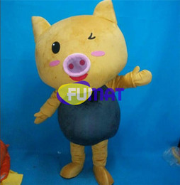 Costumi carino di maiale online-FUMAT Golden Pig Cartoon Costumes Animal Golden Pig Animated Cute Pig Mascotte Costumi Abbigliamento Camminare Performance Dress Personalizzazione