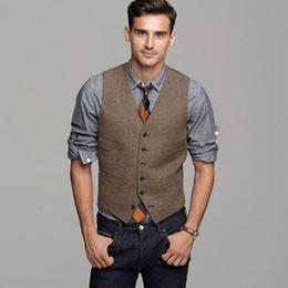 $enCountryForm.capitalKeyWord NZ - 2017 Brown Wool Herringbone Tweed Vest Men's Suit Vests Slim fit Groom Vests Vintage Wedding Waistcoat Unique Mens Dress Vest Plus Size