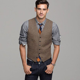 Wholesale 42 Suit Size - 2017 Brown Wool Herringbone Tweed Vest Men's Suit Vests Slim fit Groom Vests Vintage Wedding Waistcoat Unique Mens Dress Vest Plus Size