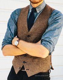 Wholesale Slim Fit 42 - 2017 Brown Wool Herringbone Tweed Vest Men's Suit Vests Slim fit Groom Vests Vintage Wedding Waistcoat Unique Mens Dress Vest Plus Size V002