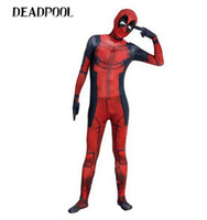 Wholesale Zentai Lycra Red - 3D printing Unisex Lycra Spandex Zentai Suits Halloween Cosplay Costumes Deadpool Red & Black
