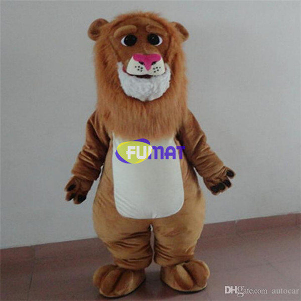 FUMAT Adult Size Cute Lion Costume Halloween Christmas OEM Cartoon Mascot Clothing Party Fancy Dress Sample Picture Customization