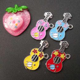 Wholesale Wholesale Rhodium Plated Jewelry - DIY jewelry accessoriess rhodium plated enamel lovely guitar charms key chians charms pendants CPL20030 29x14mm 40pcs lot