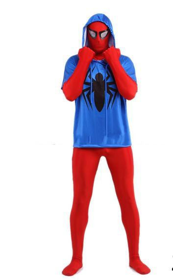 DHL shipping Classic Full Body Lycra Zentai Suit Bodysuit Halloween 2ND Skin Red blue Stretch Jumpsuit Hood
