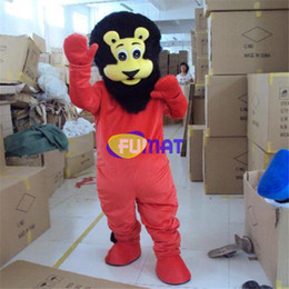Halloween Costume Lion Canada - FUMAT Red Lion Mascot Costume Black Head Lion The Best Mascot Costume Suit Halloween Christmas Birthday Dress Adult Size Customization
