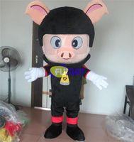 disfraz de cerdo personalizado al por mayor-FUMAT Negro Lindo Cerdo Outlet de Fábrica Gran Orejeras Rosadas Traje de Mascota con Abanico Fiesta de Año Nuevo de Halloween Fancy Custom Picture Picture Customization