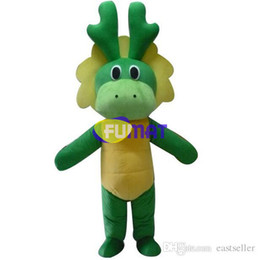 Costume De Mascotte Aux Dinosaures Pas Cher-FUMAT Green Cute Happy Face Dinosaure Cartoon Mascot Costume Stage Performance Suit Party Fancy Dress Costume Pictures Personnalisation
