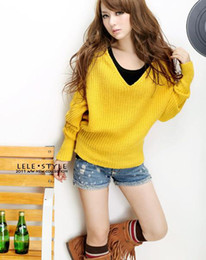 Wholesale Sweaters Womens Pullovers Knitwear - New Autumn Winter Womens Fashion V Neck Hoodies Pullovers Knitted Sweater Knitwear Tops 4 colors