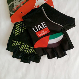 Wholesale Mtb Gel Gloves - 2017 Pro team uae Fly Emirates cycling gloves shockproof Half Finger gel pad fingerless Bike gloves MTB racing biking mittens Size m-XL