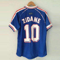 Wholesale Embroidery Football Jerseys - 1998 FRANCE RETRO VINTAGE ZIDANE HENRY MAILLOT DE FOOT Thailand Quality soccer jerseys uniforms Football Jerseys shirt Embroidery Logo