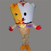 cuadros populares vestido al por mayor-Traje de la mascota del helado de FUMAT Traje popular del personaje de dibujos animados del helado de la comida dulce para el traje del partido del vestido de lujo del adulto