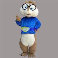 april-dummkopf-tageskostüme großhandel-FUMAT Eichhörnchen Maskottchen Kostüm Blau Weste Eichhörnchen Erwachsene Größe Kostüm Geburtstag Party Outfit Aprilscherze Anzug