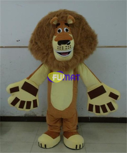 FUMAT Lion Mascot Costume Adult Size Alice Lion Cartoon Mascot Costume For Christmas Halloween Party Fancy Dress Pictures Customization