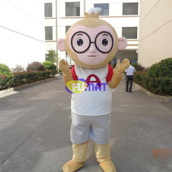 FUMAT Monkey Mascot Costumes Cartoon Big Glasses Monkey Halloween Mascot Adult Suit Dress Stage Performance Clothing Pictures Customization