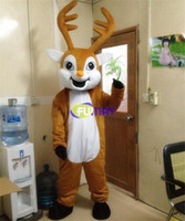 FUMAT Lovely Elk Mascot Costume EVA Animals Wapiti Cartoon Clothing Walking Cartoon Deer Doll Dress Adult Size Pictures Customization