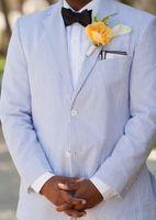 Wholesale Wedding Blazer Designs For Men - 2017 Blue Stripes Seersucker Tuxedo Designs Mens Prom Suits Slim Men Suit Jacket Wedding Suits For Men Custom Made Men Blazer(Jacket+Pant)
