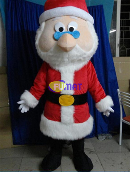 Compre Fumat Legal Vermelho Papai Noel Traje Da Mascote Mascotte Kriss Kringle Pai Natal Com Roupas Vermelhas Big Black Boots Imagem Personalização De