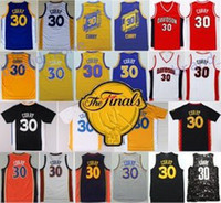 parches azules al por mayor-2017 Parche final 30 Stephen Curry Jersey Hombres Davidson Wildcats College Jerseys de baloncesto Chino Lanzamiento Azul Blanco Amarillo Negro Cosido