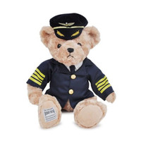 Wholesale Ted Christmas Bear - 25CM Hot Kawaii Joint Pilot Teddy Bears Stuffed Plush Cute Toy Blue Fly Teddy-Bear Bear Ted Bears Plush Toys Wedding Gifts 027