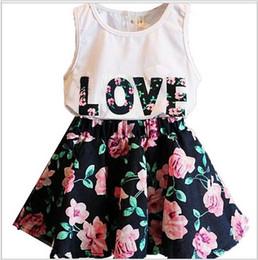 Wholesale Lovely Baby Girl Loves - Girl letter LOVE flower dress suits Summer children cotton lovely Sleeveless vest T-shirt + floral skirt 2pcs suit baby clothes