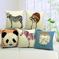 Wholesale Fashion Nordic Cushion Cover Home Decor Sofa Bed Cute Animal Printed Linen Square Cushion Cover