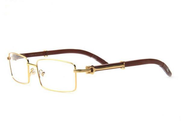 Modemarke Sonnenbrille Trendy klare schwarze Brille Männer Frauen Marke Designer Buffalo Horn Brille Vintage Gold Holz Bambus Rahmen