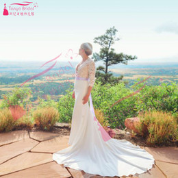 Wholesale Photography Modern - Summer Country Mermaid Wedding Dresses Deep V-Neck Half Sleeve Lace and chiffon Bridal Gowns Outdoors Wedding photography Gowns