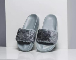 Wholesale Girls Pink High Heel Shoes - 2017 Leadcat Fenty Rihanna Shoes Women Slippers Indoor Sandals Girls Fashion Scuffs Pink Black White Grey Fur Slides With Box High Quality