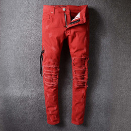 Jeans Droits Rouges Pas Cher-Robins Famous Brand Hommes Biker HipHop Swag Tyga Jeans Pop Luxe Design Hole Straight Denim Pantalons Slim Ripped Red Robin Jeans For Men