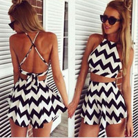 Wholesale Mini Skirt Halter - 2017 Summer Sleeveless Two Piece Sexy Dress Hot European and American Women Striped Skirt Suit Sling Halter Dress Shorts