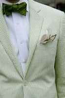 erkek takım elbise smokinleri toptan satış-2017 Yeşil Pinstripe Pamuk Gofre Smokin Tasarımlar Erkekler Için Damat Suits Damat Giyim Erkekler Suit Ceket Düğün Erkekler Için Suits (Ceket + Pantolon)