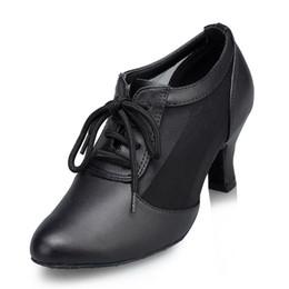 Wholesale Dance Teacher Shoes - Summer breathable Female teachers shoes Black Genuine leather Modern dance shoes cowhide Ballroom dancing shoes women's companionship
