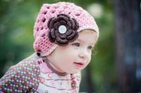 Wholesale Designed Beanies - 1pc Crochet baby girl beanie 0-3Y children's caps pink hat with flower cotton yarn mix design custom