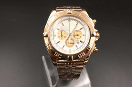 Wholesale White Dial Pilot Watch - Wholesale - White dial men's Rose gold watches B01 quartz chronograph 0110 stainless steel strap Watches famous pilot brand watches