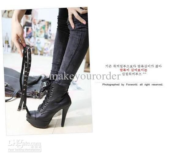 wholesaler hot seller occident water proof high heel short boots rivet boots Martin boots