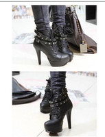 Wholesale Water Proof Fabric - wholesaler free shipping hot seller occident water proof high heel short boots rivet boots Martin boots