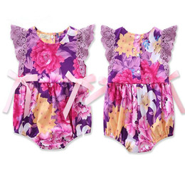 Wholesale Lace Ruffle Rompers For Girls - Baby Girls Lace Rompers Newborn Birthday Floral Print Bow Jumpsuit 0-2Y Infant Ruffle Bodysuit 2017 Children Clothes for Valentine Gift B280