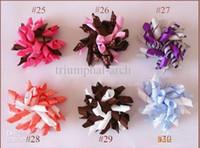 Wholesale Hair Curler Bow - Drop Shipping Children's curlers bows flowers hair barrettes Kid's korker ribbon hair clip 50pcs