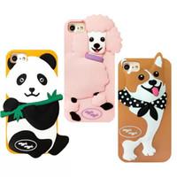 casos de perro 3d al por mayor-Moda Linda 3D de Dibujos Animados Corea Wiggle Caniche Panda Corgi Dog Phone Cover para iPhone 6 6sPlus 7 7 plus Funda de silicona suave Protector